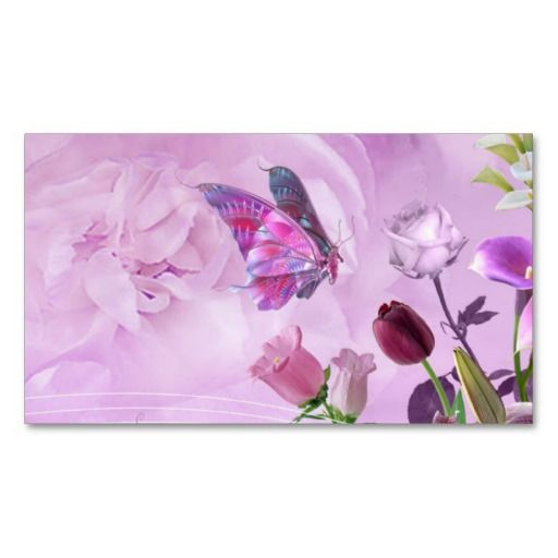 Abstract Colourful Pink Purple Cute Butterfly Business Card Templates