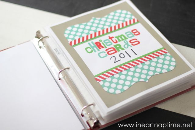 Wondering what to do with all your old Christmas cards? Keep them in a book and download these free printables from Eighteen 25.