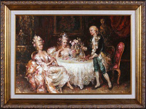 Pintura al óleo original de la vida de Ocio en la nobleza europea del S.XVII. Medidas: 60x90 83x113 www.oilpainting.com.ar consultaweb@oilpainting.com.ar