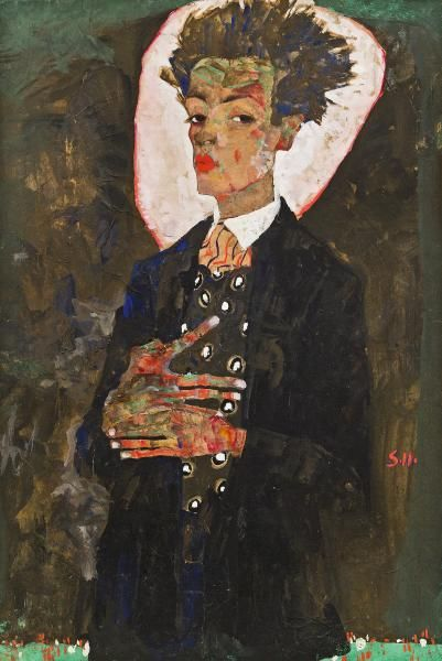 Egon Schiele. Self Portrait with peacock waistcoat, standing 1911, gouache, watercolour and crayon. NGV Vienna Art and Design: Egon Schiele