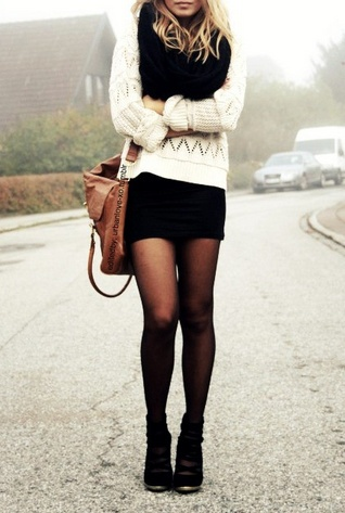 Love the booties + tights and the sweater!
