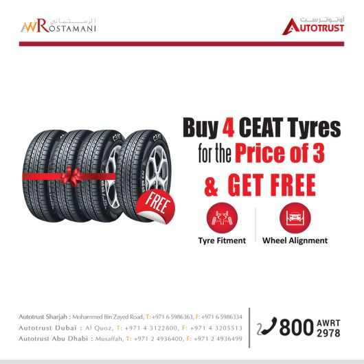 Buy 4 CEAT tyres and pay only for 3   Earn 2,000 points on 4 tyres replacement from AUTOTRUST UAE. Enquire online!