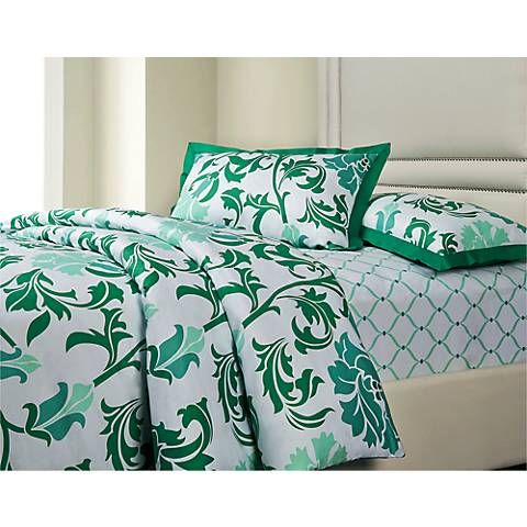 Trellis 3-Piece Cotton Sateen Duvet Set - #5H326 | Lamps Plus