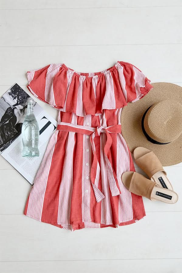 Off the shoulder flowy dress with red and white stripes