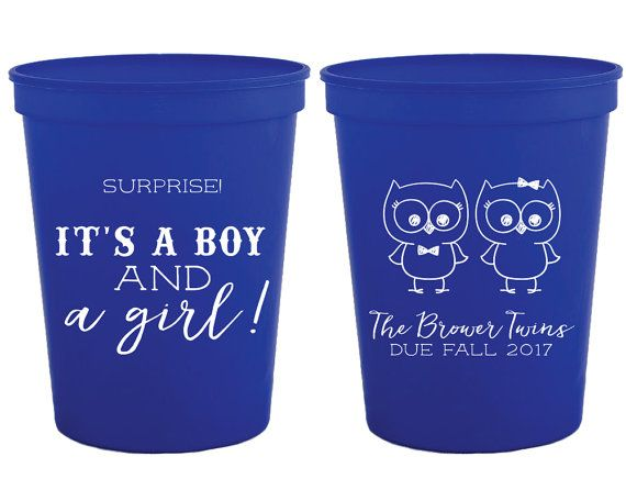 Baby Shower Favors Twins Baby Shower Cups Surprise Twins Baby Shower Favors Baby Shower Gifts Diaper Shower Cups Party Cups Cups 1319 by SipHipHooray