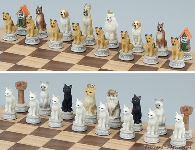 i would play chess if i had a set like this. cats vs. dogs