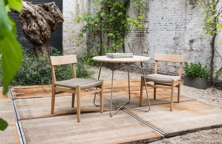 Tuinstoelen en teak bijzettafel - Let's go outside - Rope chairs - Teak side table - #WoonTheater
