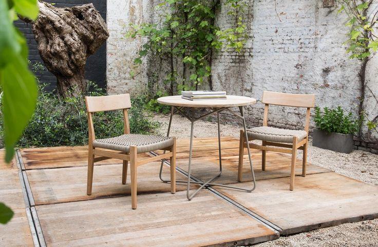 Tuinstoelen en teak bijzettafel - Let's go outside - Rope chairs - Teak side table - #WoonTheater