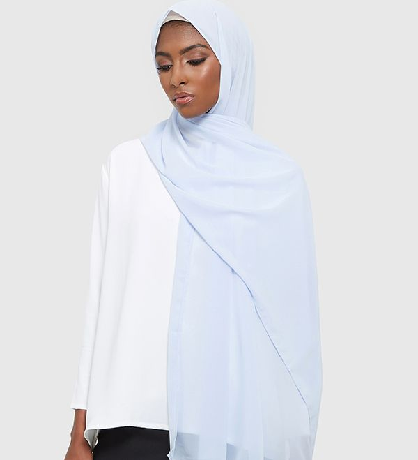 Pale Blue Soft Crepe Hijab - £11.90 : Inayah, Islamic Clothing & Fashion, Abayas, Jilbabs, Hijabs, Jalabiyas & Hijab Pins