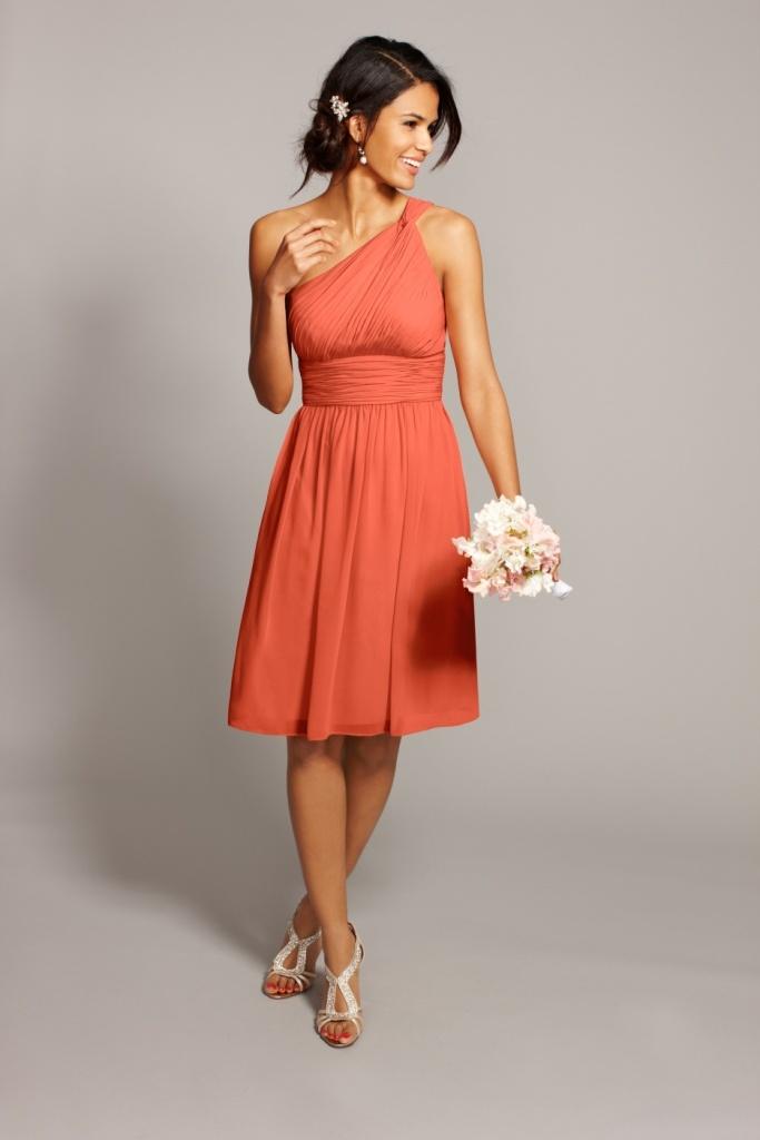 A one shoulder wonder donna morgan 39 rhea 39 in 39 corabell for Donna morgan wedding dresses