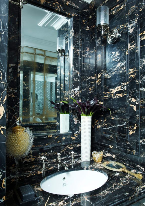 Hubert Zandberg Interiors Marble Slab Stone Bathroom Walsl Vanity Circa Lighting Lita Ava Sconce Black Marble Bathroom Marble Bathroom Designs Marble Bathtub