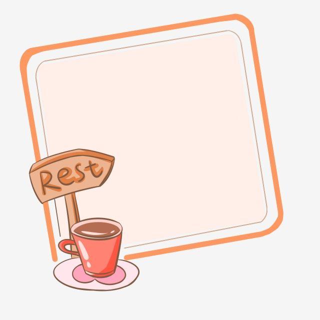 جميل الكرتون إطار فنجان القهوة مرسومة باليد توضيح لطيف الكرتون الحدود Png وملف Psd للتحميل مجانا Coffee Cups Frame Cartoon