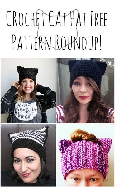 Crochet cat hat pattern roundup! List of 5 free cat ear beanie crochet patterns.
