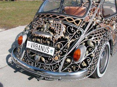 Silver filigree Beetle by Vrbanus: Vw Beetles, Neo Victorian, Vw Bugs, Volkswagen Beetles, Cars, Metals Art, Wrought Iron, Wroughtiron, Steampunk