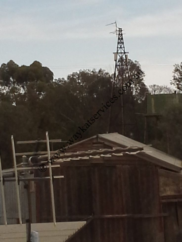 A view in the background of the main once decommissioned windmill tower now turned in to a telecommunications tower thanks to Waykat Services this tower services the 5,500 Sq Km farm with voice, data and fixed wireless telecommunications from a remote Telstra base station.