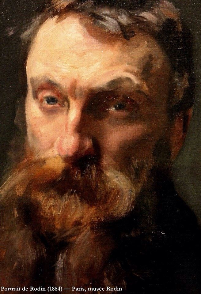 "Auguste Rodin (French sculptor 1840-1917), by John Singer Sargent (1856-1925). Signed ""A mon ami Rodin, John Sargent 1884"" Musee Rodin, Paris. Oil on canvas."