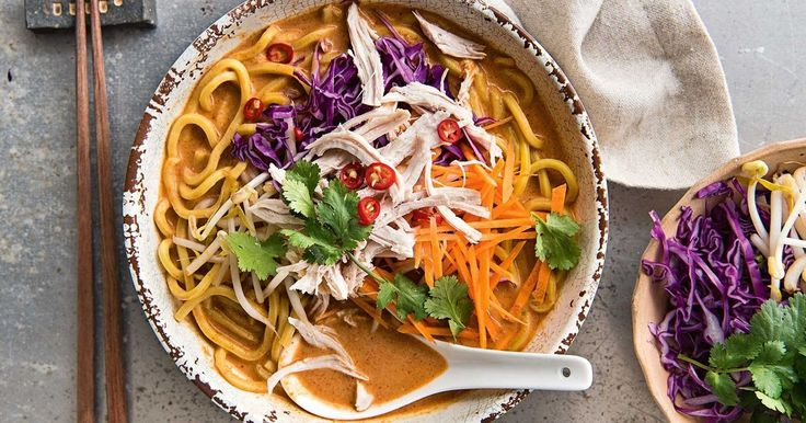 Quick and easy, this Thai red curry chicken noodle soup will be on your table in 25 minutes.
