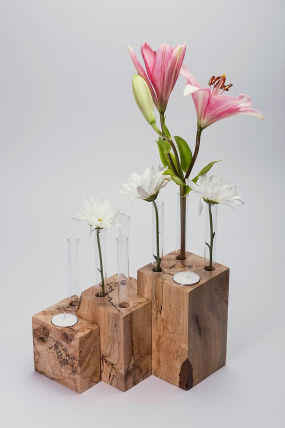 Bud Vase / Tea Light Modular Display  by HeirloomWoodWorking, $65.00