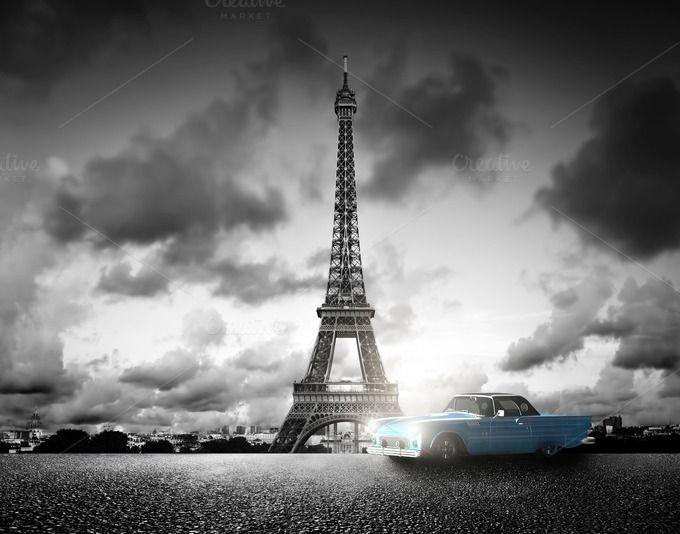 Eiffel Tower in black & white by Photocreo Michal Bednarek on @creativemarket