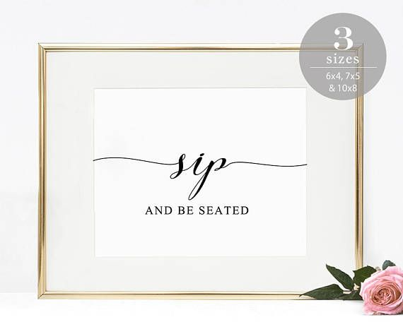 Sip And Be Seated Sign Template Printable Wedding Bar Cocktail Escort Card Modern PDF Instant Download SPP007sbs