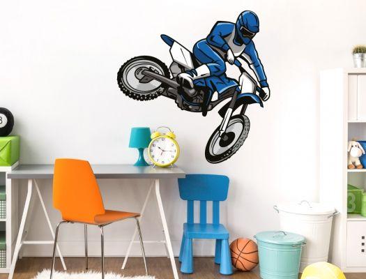 Cute Jugendzimmer Wandtattoo mit Motocross Fahrer