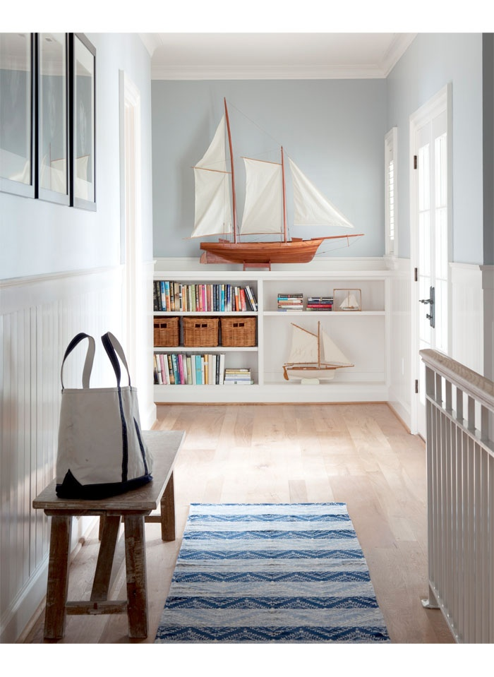 how clean and bright.   Love the idea of having a tote in mudroom, on bench, by door ready to go.