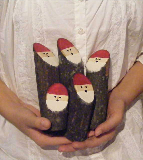 Set of 5 Hand Painted Log Santas - Rustic Christmas Décor. This Adorable Set is Made with Fresh Maple Branches.  Hand Painted Hats, Beards and