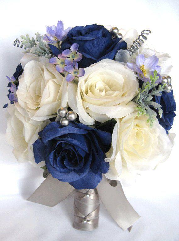 Wedding Bouquet 17 Piece Package Bridal Silk flower Bouquets NAVY blue CREAM SILVER Gray Wedding decoration Centerpiece RosesandDreams