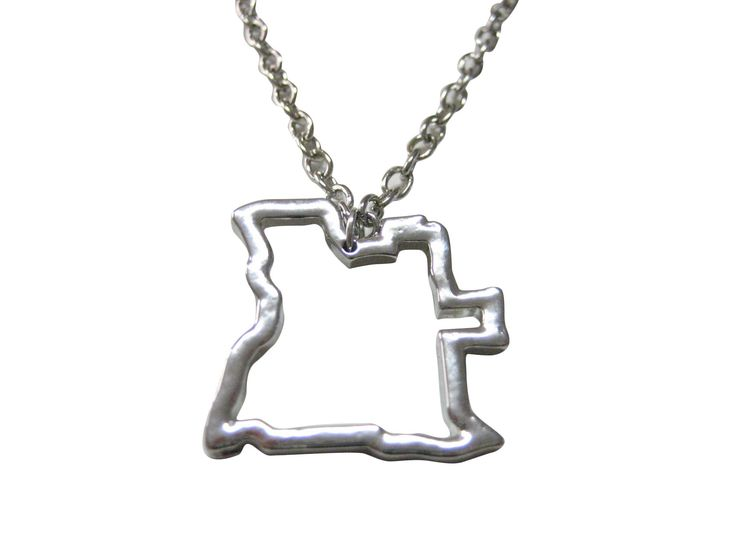 Silver Toned Angola Map Outline Pendant Necklace