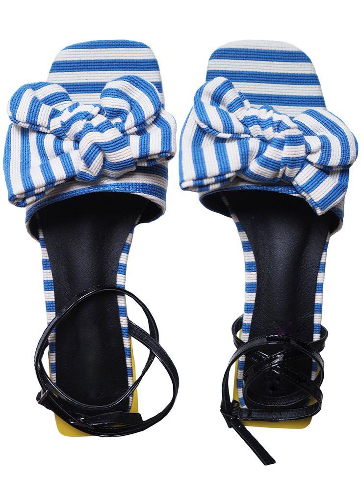 'Dannie' Bow Striped Heeled Sandals