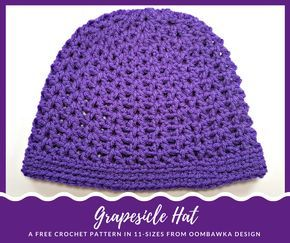 This easy to crochet hat is worked in the V-Stitch pattern and is available in 2 different lengths. Grapesicle Hat is available in 11 sizes - preemie to adu