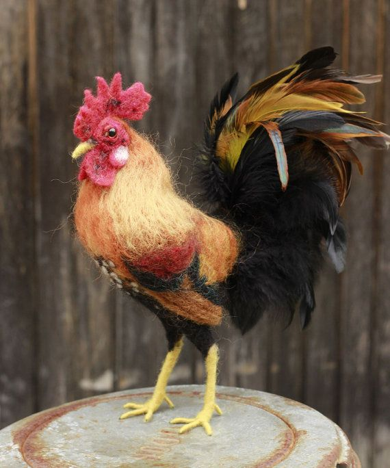 Needle felted rooster made to order felted bird with by Ainigmati