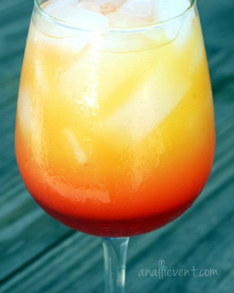No Tequila-Just the Sunrise Mocktails For one drink: Dash of Grenadine Ice 1 measure of orange juice (according to the size of glass) 1/2 measure of pineapple juice