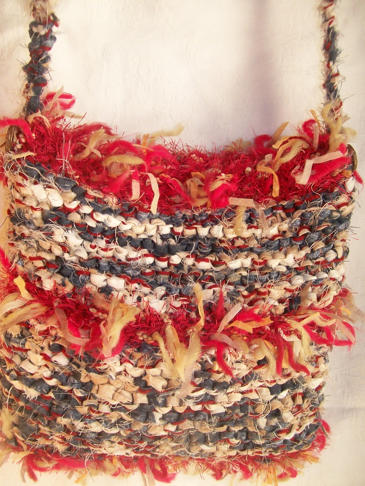 knitted bag, strips of fabric and novelty wool