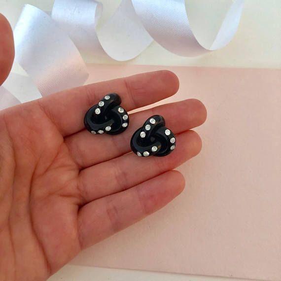 Screw Back Earrings - Antique Earrings - Black Earrings - Rhinestone Earrings - Clip on Earrings - Clip Earrings - 1930s Earrings - 1940s