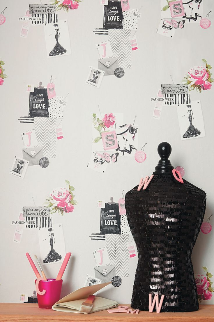 Pretty montage wallpaper design of fashion clippings, little notes, envelopes, butterflies and flowers which are presented in a pin-board effect.