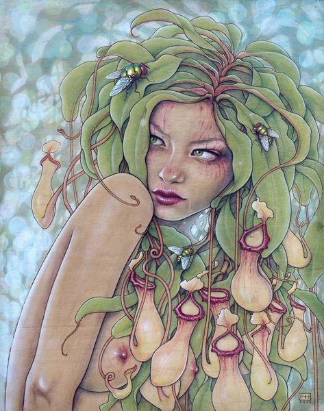 Fay Helfer #art #drawing #painting #illustration #pastel #portrait #surreal #nature #fruit #woman #green