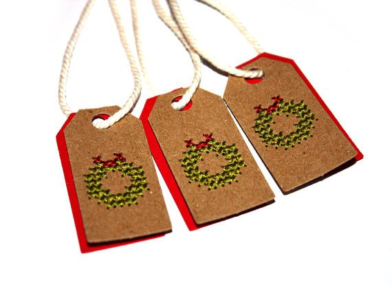 10 Christmas Tags | Wreath Tags | Embroidered Tags | Unusual Tags | Mini Tags | Christmas Wreath | Christmas Gift Tags | Christmas Packaging
