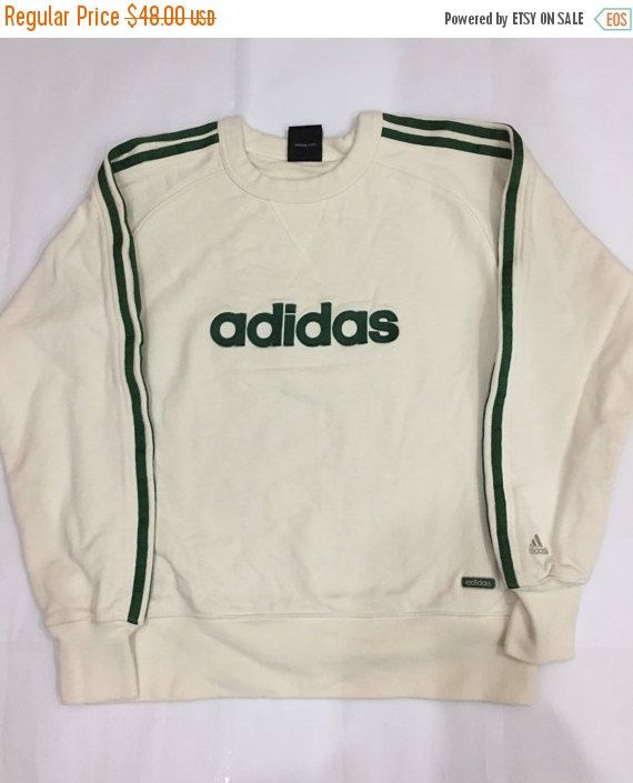 CHRISTMAS SALE Vintage 90's Adidas Sweatshirt Spellout Green Jacket Sport Trainer Sweater Size US S #S542