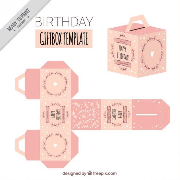 template giftbox aniversário cor de rosa Vetor grátis