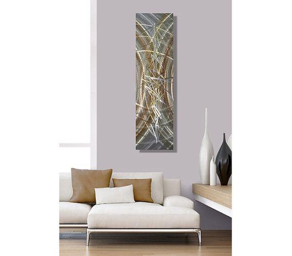 Or & argent métal Wal Art moderne Accent mur abstrait