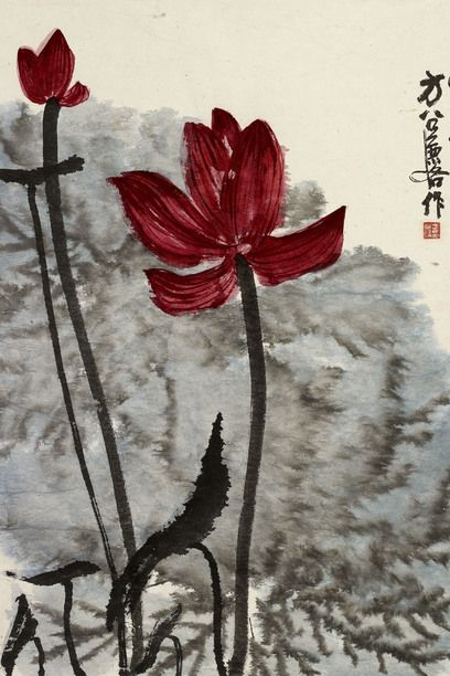 Fang Zhaoling (1914–2006), Lotus, 1980, Ink and colour on paper, 68.6 x 137.2 cm, Private Collection © Ashmolean Museum, University of Oxford