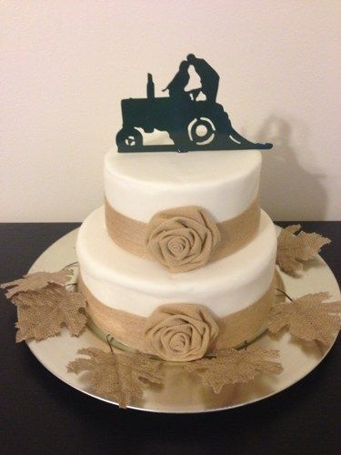Wedding Cake Topper - Wedding bride and groom Farmer Redneck--- TRACTOR 1-1