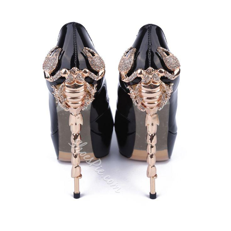Shoespie Siyah Patentli Deri Sarkma ayak parmaki Ayakkabi Topuklar
