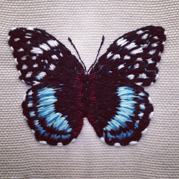 Embroidered Butterfly  Embroidery  Pinterest