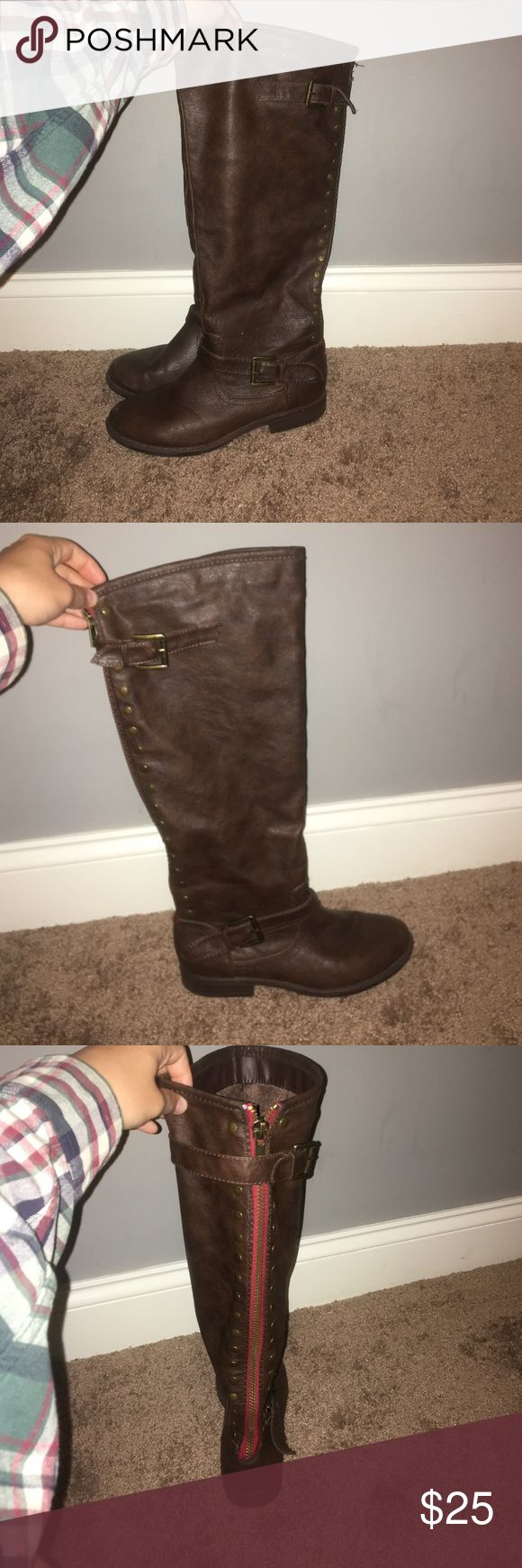 "Tall brown boots These boots go great with fall and winter outfits. The are a women's 8 and are true to size. I am 5'6"" and they come up right below my knee. They are super comfortable and have a really soft ""minky"" material on the inside. Bamboo Shoes Heeled Boots"