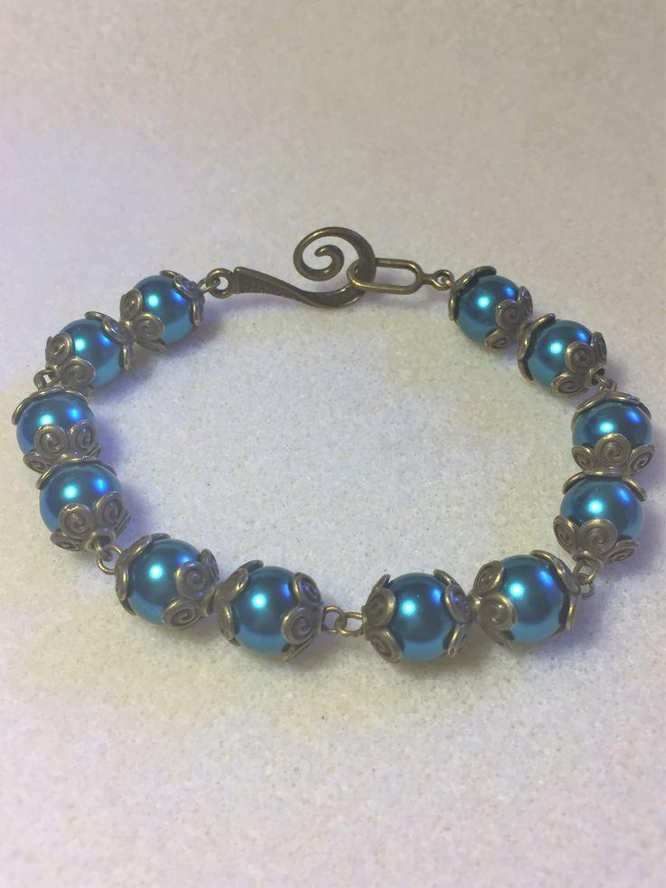 """Bracelet """"L'automne avec du bleu et du bronze"""" : Bracelet par les-breloques-de-bel"""