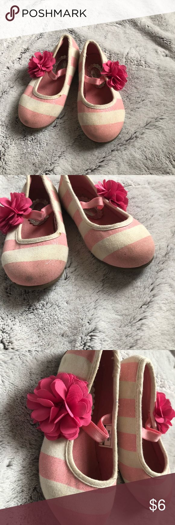 Osh Kosh B'gosh Striped Flower Flats Pink and cream striped ballet flats with elastic top strap and 3D flower detail as seen. Good used condition - wear can be seen in pics. OshKosh B'gosh Shoes