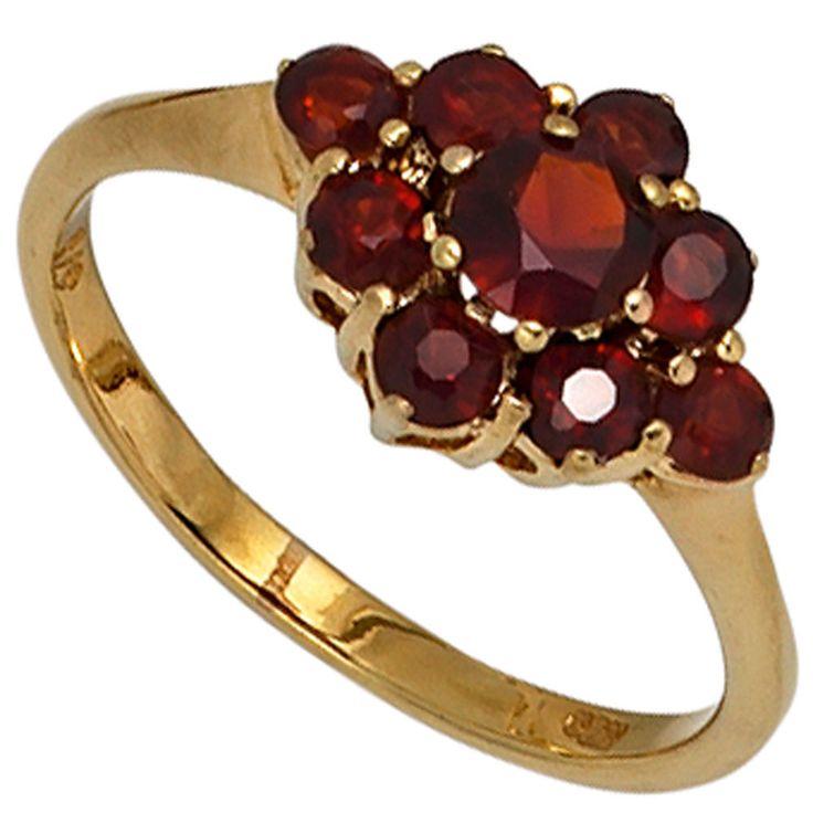 Damen Ring 375 Gold Gelbgold 9 Granate rot Goldring A40403 54