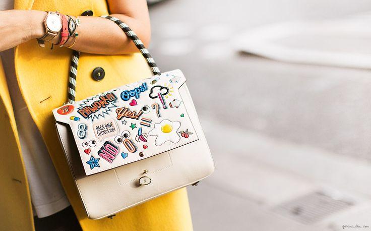 Anya Hindmarch sticker satchel/Garance Doré